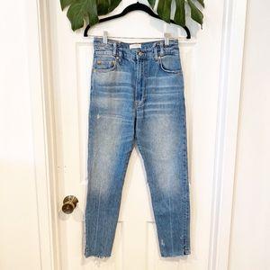 Zara Split Raw Hem High Waisted Jeans